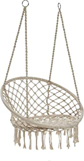 KOBBTAN Hammock Chair Macrame Swing - Max 330 Lbs-Hanging Cotton Rope Hammock Swing Chair for Indoor and Outdoor Use (Beige)