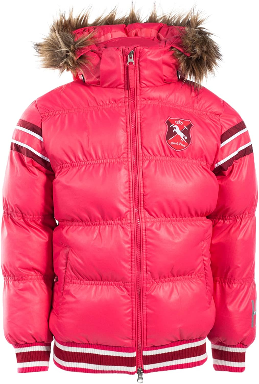 Quantity limited Horze Kids Ponies Padded Jacket Hot Hood Max 68% OFF with Reomvable Pink