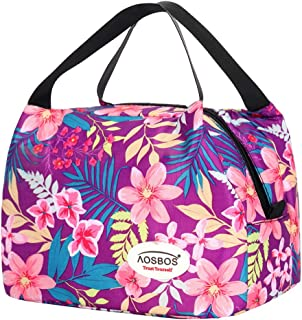 Aosbos Reusable Insulated Lunch Box Tote Bag (Rich Flowers)