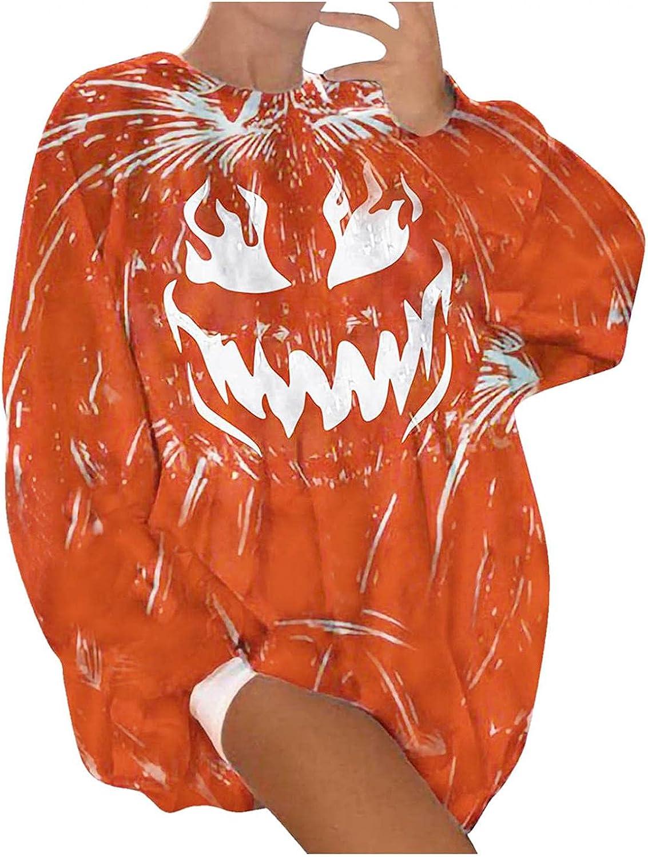 wlczzyn Womens Halloween Vintage Swearshirts Pumpkin Face Pullover Oversized Pullover Tops Comfy Halloween Custume