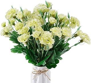 BEFINR Artificial Carnation Light Green Silk Petals Fake Flowers Forever Plants for Gifts Home Party Wedding Office Garden Art Decoration 4PCS