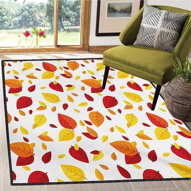 Leaf, Door Mats for Inside, colorful Fall Autumn Leaves on White Background Seasonal Design Modern Artwork, Door Mat Increase 5x6 Ft Red orange Yellow