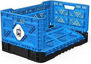 BIGANT Heavy Duty Collapsible & Stackable Plastic Milk Crate - IP543630, 12.7 Gallons, Medium Size, Blue, Set of 1, Snap L...