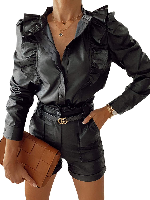 KT-Studio Women Black Leather Ruffle Shirts Faux Leather Jacket Moto Casual Short Coat (Black, S)