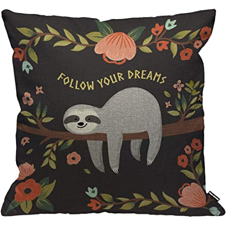 Novelty Lazy Cushion Cover My Spirit Animal Is A Sloth Sleepy Bed Joke Teenager