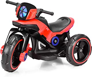 Costzon Kids Motorcycle 6V Bicycle 3 Wheels Battery Powered W/ MP3 for Boys & Girls, Children Electric Ride on (Red & Black)