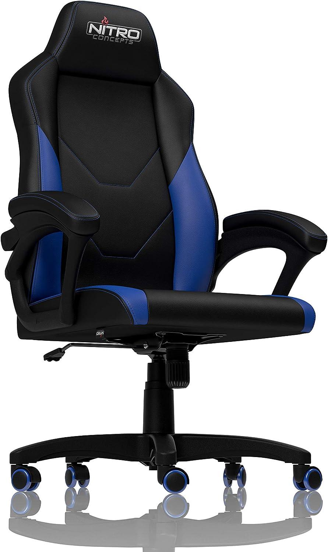NITRO CONCEPTS C100 Gamingstuhl - Bürostuhl - Schreibtischstuhl - PU-Kunstleder - Schwarz Blau