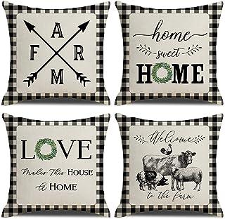 KACOPOL Farmhouse Buffalo Check Plaid Pillow Covers Home Sweet Home Rustic Quotes Vintage Animal Farmhouse Throw Pillow Ca...