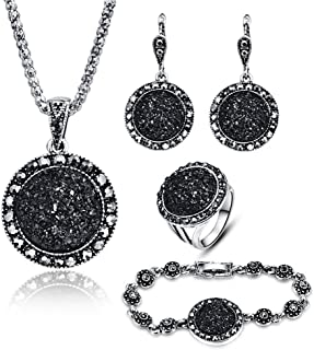 LUYUAN JEWELRY 4 PCS Black Jewelry Set for Women Diamond Drusy Agate Pendant Women Necklace Earring Ring and Bracelet Wedding Jewellery