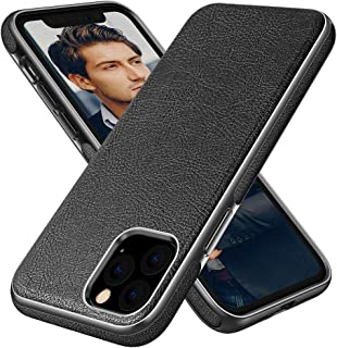 Diaclara Cases Compatible with iPhone 11 Pro Max Leather Handmade Prime Cover Business Thin Full Body Protective Shell with Shinning Edge Never Faded for Apple-6.5'' (Black)