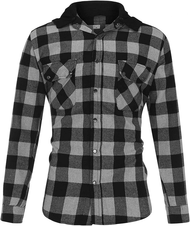 WUAI-Men Plaid Fleece Hoodies Jackets Long Sleeve Casual Lightweight Button Down Classic Flannel Shirts Pullover Tops