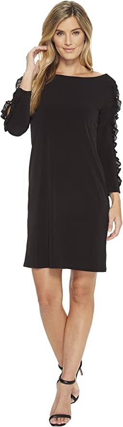 Ivanka Trump - Matte Jersey Sleeve Detail w/ Ruffle Dress