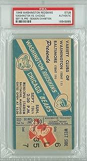 1948 Washington Redskins Ticket Stub vs Chicago Bears Pre-Season Game - September 19, 1948 [[Grades Vg/Ex, attractive ticket]]