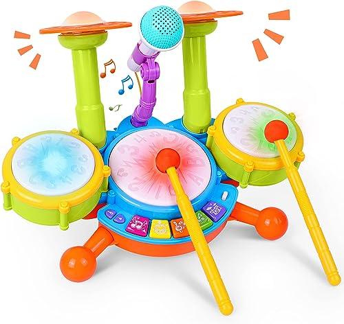 Rabing Ensemble de Batterie Pour Enfants,Instrument de Musique avec 2 Baguettes de Batterie, Lumière Flash Beats et M...