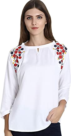 d796474f67 Triumphin White Women Girls Boat Neck Embroidered Rayon Cotton Top for  Dailywear Casual Women/Girls