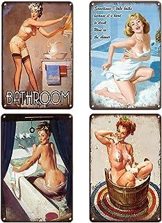 QUMENEY Lot de 4 plaques murales Vintage en métal - Modèle de pin-up Sexy de Salle de Bain - pour café, Bar, pub (30 x 20 cm)