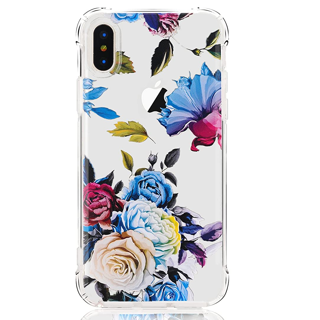 LUOLNH iPhone X Case,iPhone Xs Case with Flowers, Slim Shockproof Clear Floral Pattern Soft Flexible TPU Back Cover case for iPhone X/XS -Blue Rose