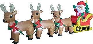8 Foot Long Christmas Inflatable Santa on Sleigh with 3 Reindeer and Christmas Tree Yard Decoration