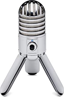 Samson Meteor Mic, Micrófono para ordenador (USB, 20 Hz - 20 kHz, 25 mm), plateado (Chrome)