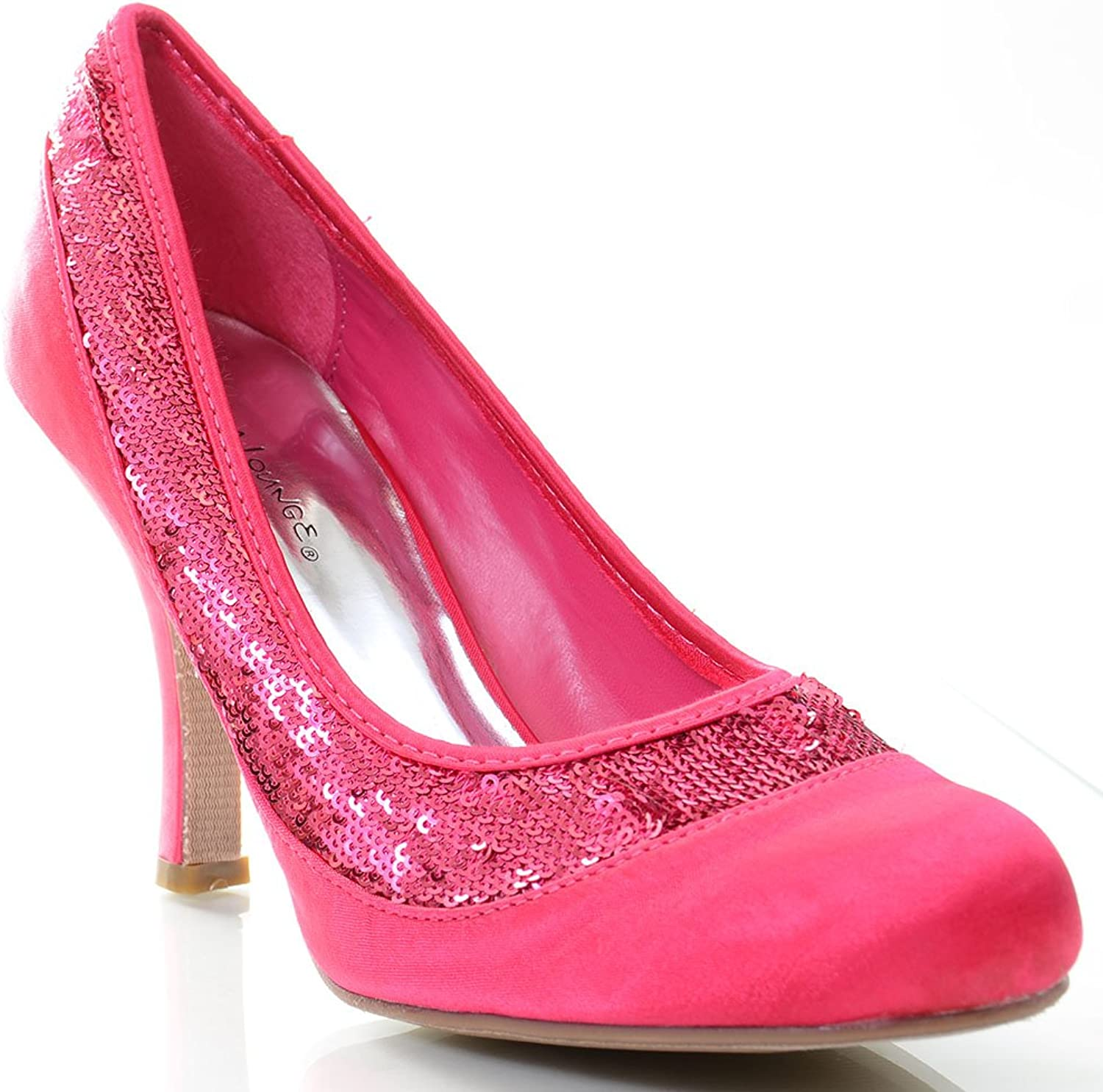 Fourever Funky Sequin Fuchsia Satin Low Heel Pumps Women's