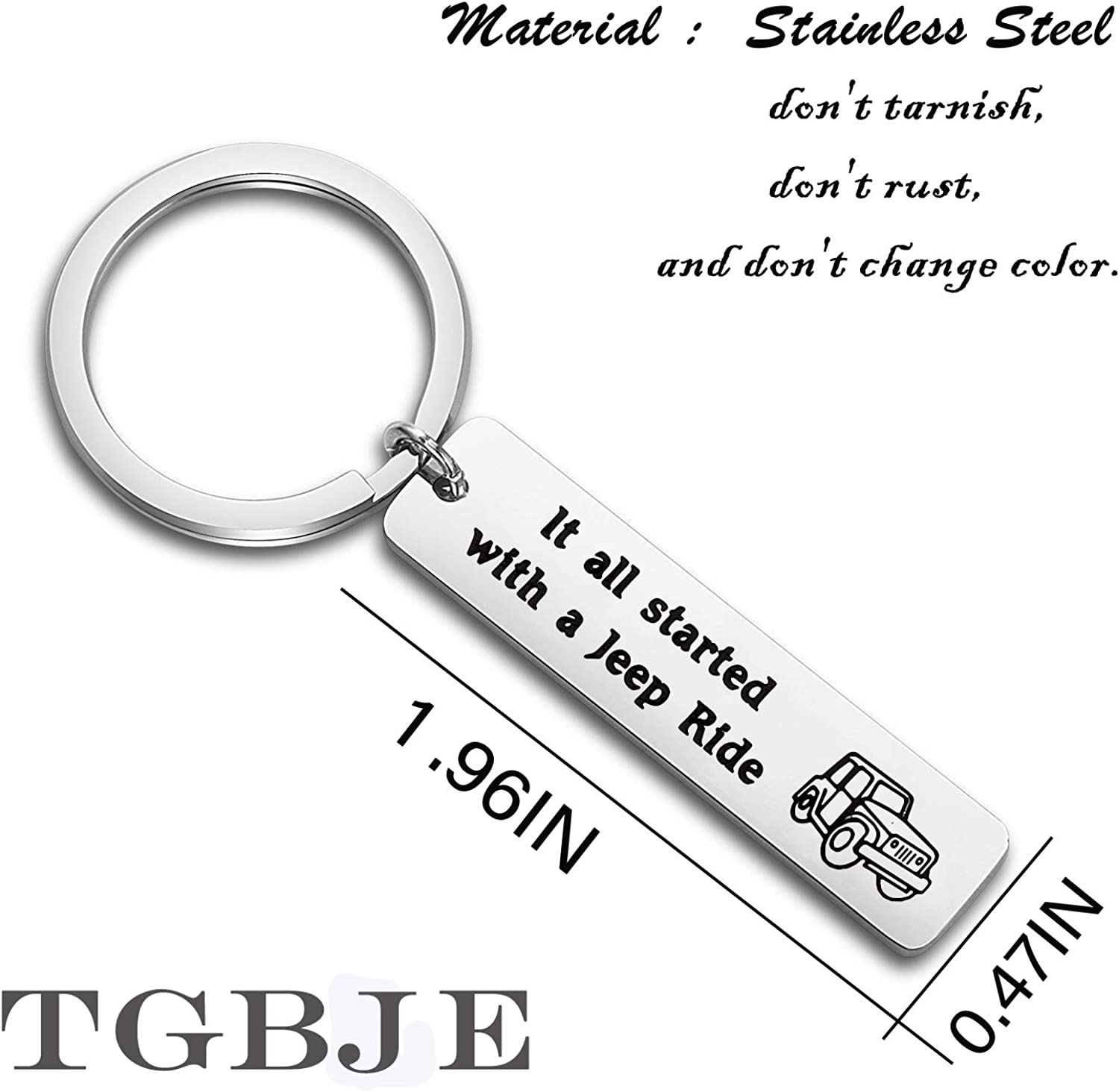 TGBLE Jeep Lover Gift It All Started with A Jeep Ride Keychain Gift for Jeep Girl,Boyfriend