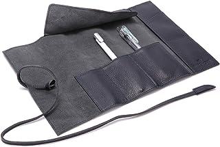 BLUE SINCERE 本革 ロール ペンケース 大容量 レザー 革 筆箱 万年筆入れ プルームテックケース メンズ レディース(ダークネイビー)RP1-dn