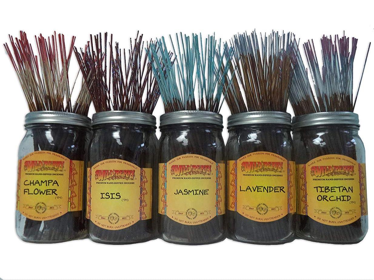 路地バナナシリングWildberry Incense Sticks Florals & Greens Scentsセット# 1?: 20?Sticks各5の香り、合計100?Sticks 。
