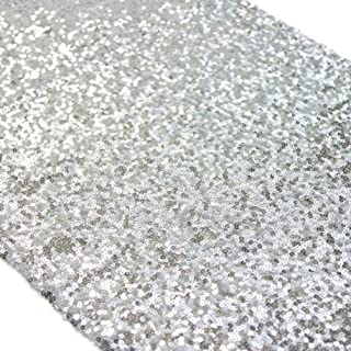 TRLYC 12 x 120 Inch Sparkly Silver Sequin Table Runner, Silver