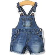 Baby Girls/Boys Big Bibs Light Blue Slim Summer Jeans Shortalls
