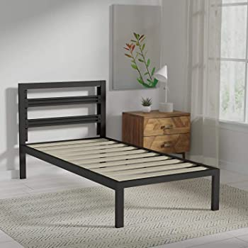 AmazonBasics Metal Bed with Modern Industrial Design Headboard - 14 Inch Height for Under-Bed Storage - Wood Slats - Easy Assemble, Twin