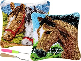 Prettyia 2 Set 43x43cm Horses Latch Hook Rug Kit DIY Embroidery Cross Stitch Needlework for Cushion Pillow Mat