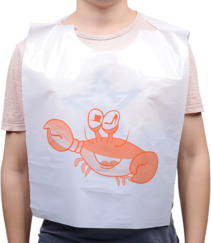 16 Pack 23 Inch Disposable Crab Bibs Funny Plastic Seafood Bibs For Adults