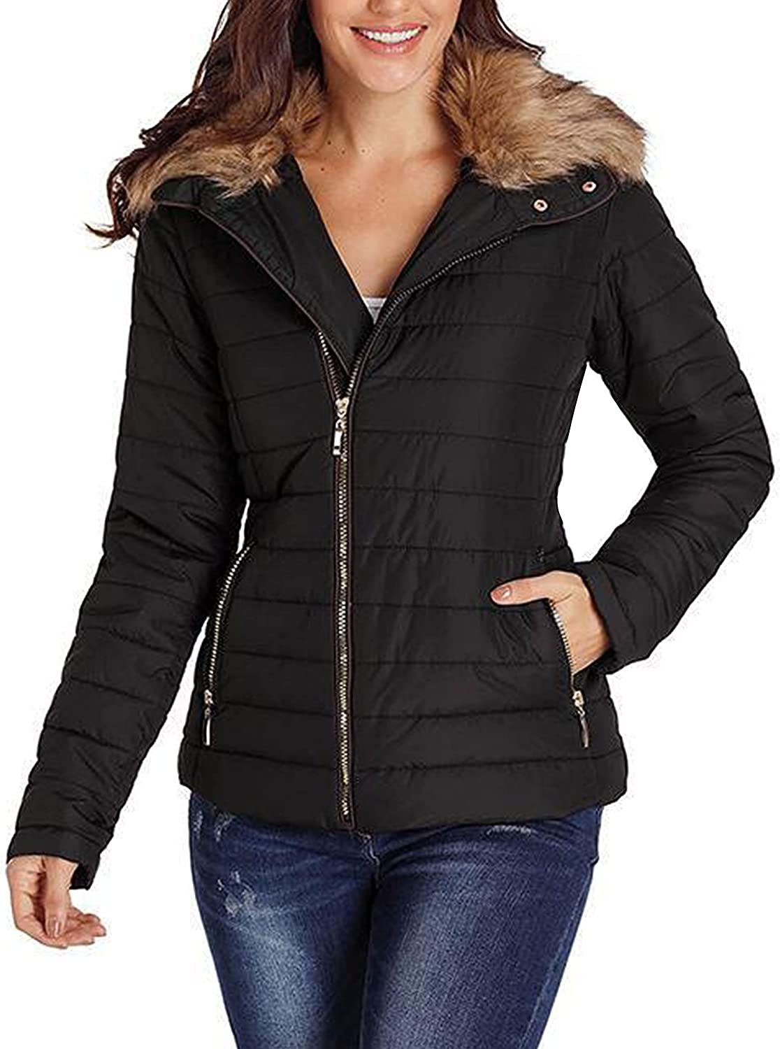 Mingzhu Women's Quilted Lightweight Padded Jackets Faux Fur Collar Outerwear