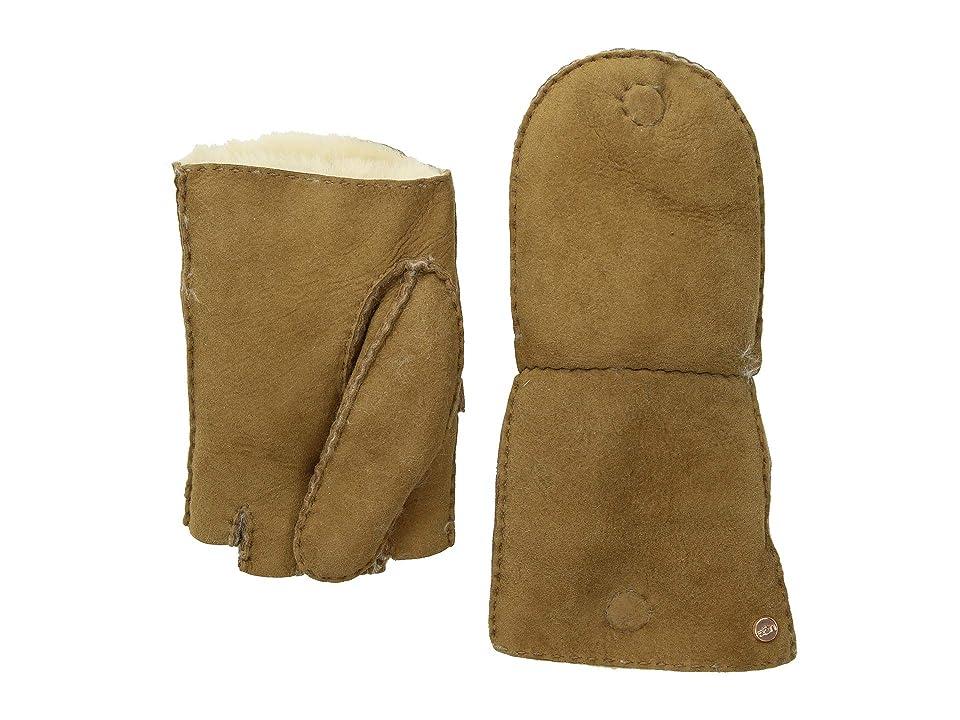 UGG Fingerless Water Resistant Sheepskin Flip Mitten (Chestnut) Extreme Cold Weather Gloves