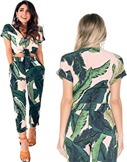 c7c850b92e AEL Womens Sexy Tie Crop Top Wide Leg Long Pants 2 Piece Outfits Summer Short  Sleeve