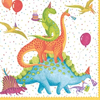 Entertaining with Caspari Partysaurus Paper Luncheon Napkins (20 Pack), Multicolor