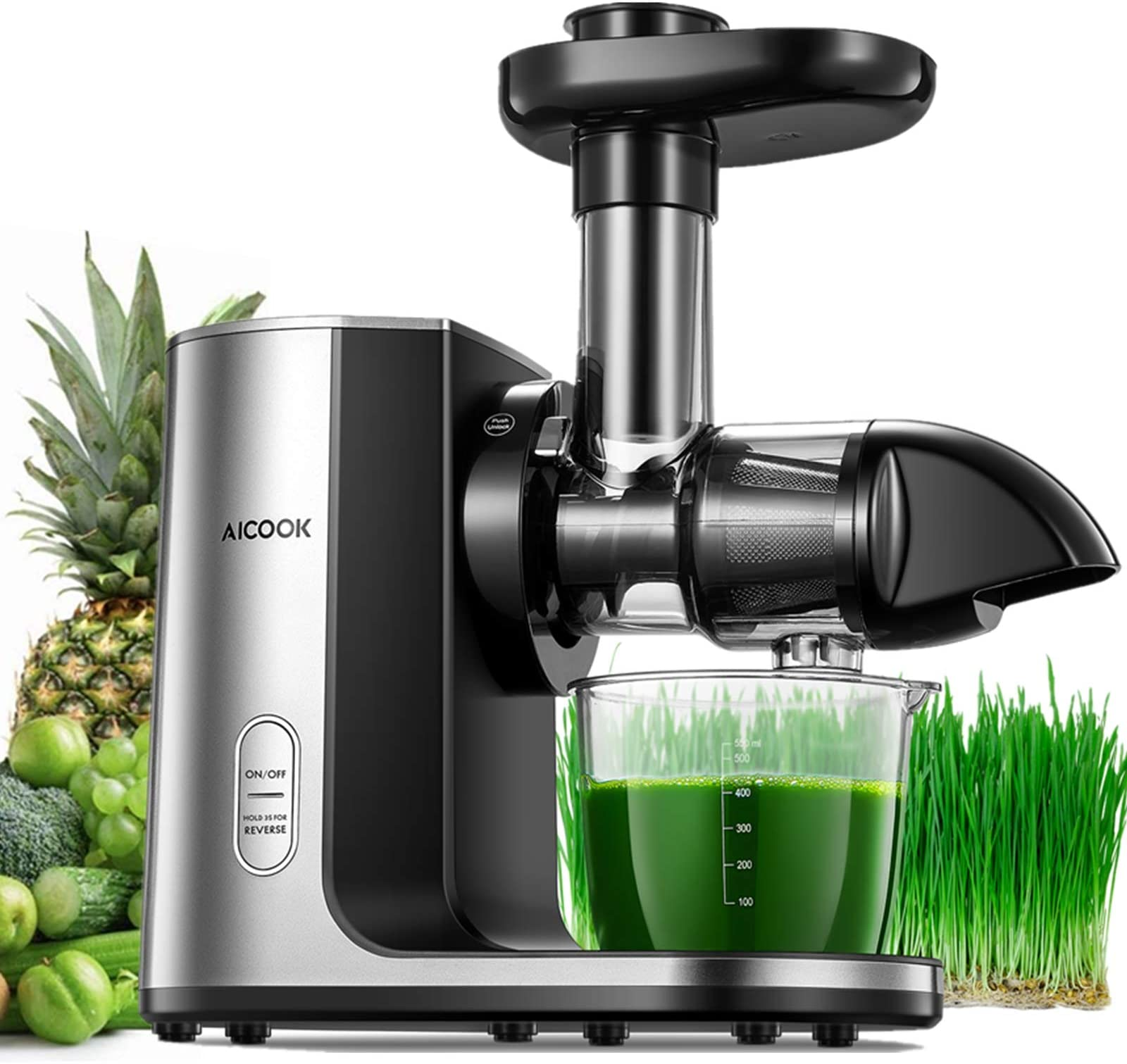 Juicer Machines, Aicook Cold Press Masticating Juicer with Quiet Motor, Easy to Clean with Brush, Higher Juice Yield, Reverse Function & Recipes for Vegetables and Fruits Included