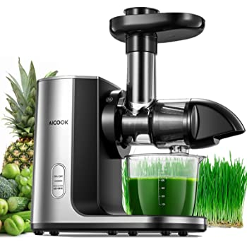 Juicer Machines, Aicook Slow Masticating Juicer Extractor with Upgraded Filter, Higher juicer yield, Easier to Clean Cold Press Juicer for Vegetables and Fruits, Brush and Recipes Included