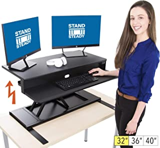 Flexpro Power 32 Inch Electric Standing Desk - Electric Height-Adjustable Stand up Desk by Award Winning Stand Steady - Holds 2 Monitors - Easy Quiet Adjustments (Black) (32