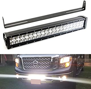 iJDMTOY Lower Grille 20-Inch LED Light Bar Kit For 2017-up Nissan Titan & Titan XD, Includes (1) 120W High Power LED Lightbar, Lower Bumper Opening Mounting Brackets & On/Off Switch Wiring Kit