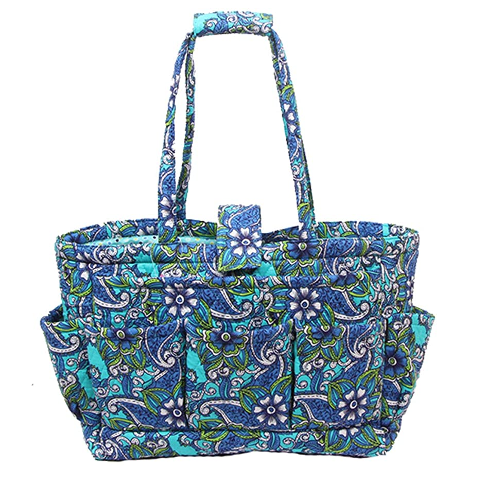 Floral Quilted Cotton Needle Bag Knitting Bag Yarn Storage Tote (Blue) cmdepa77892