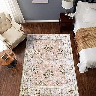 jinchan Vintage Area Rug Indoor Low Pile Mat Elegant Floral Floorcover Pink 5'3