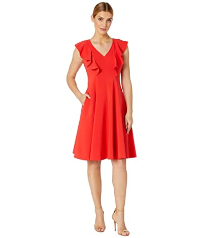 Maggy London Dream Crepe Fit and Flare with Ruffle Shoulder Detail (Candy Apple) Women