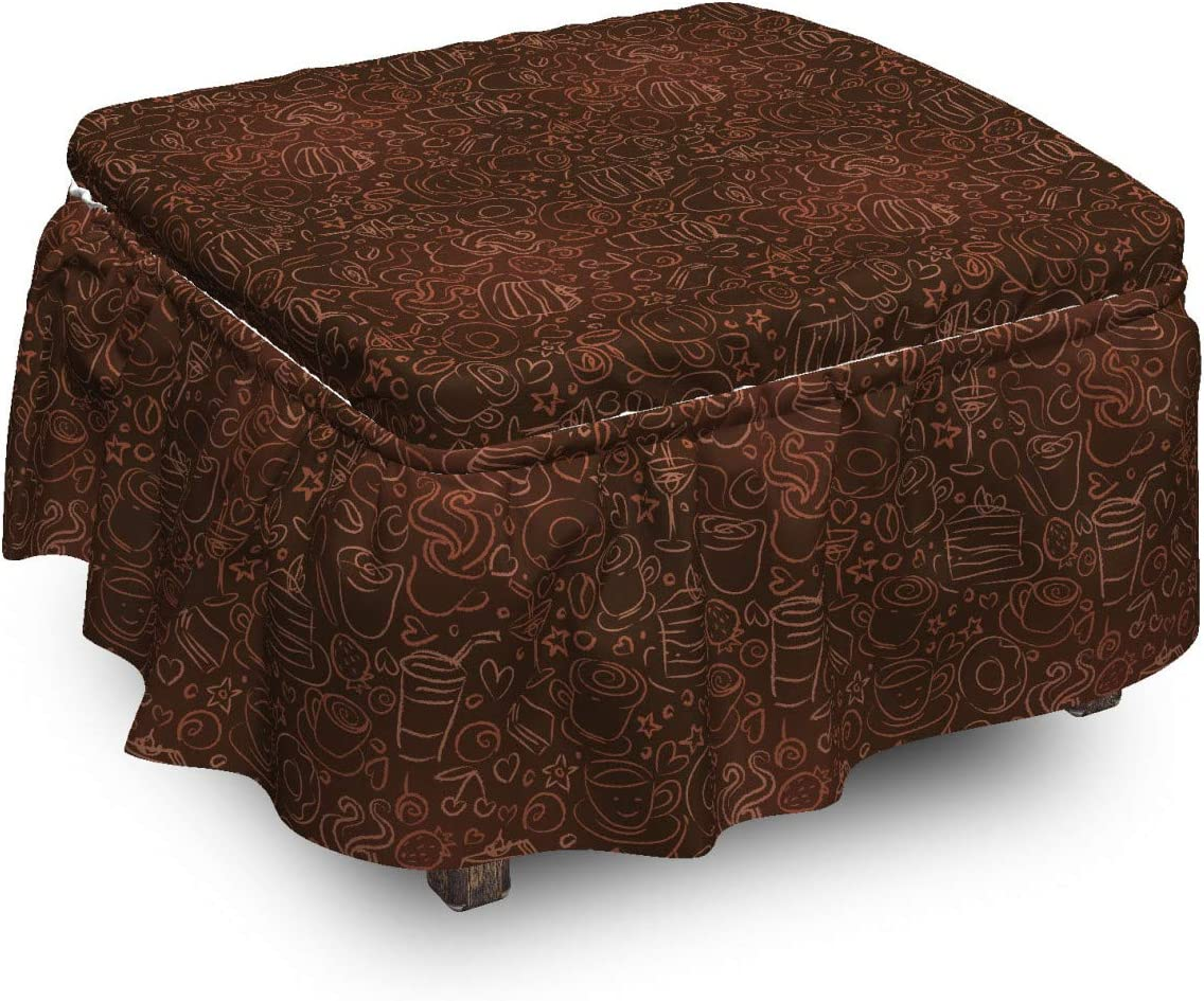 Ambesonne Chocolate Max 65% OFF Ottoman Cheap mail order specialty store Cover Coffee Doodle Art Time Pie 2
