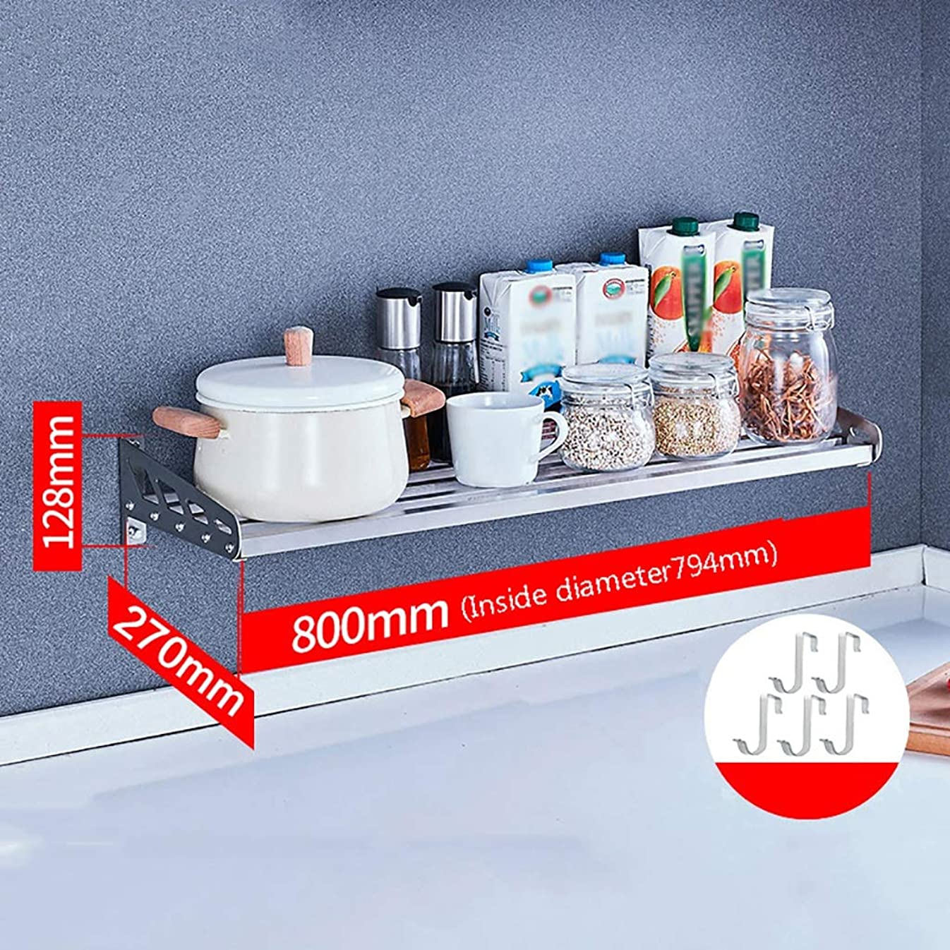 スーダンパンダばかげたキッチンシェルフ/電子レンジラック/フロア/ステンレスラック/キッチン用品収納棚/ペンダント5フックバスルーム、キッチン、バルコニー、本棚に最適