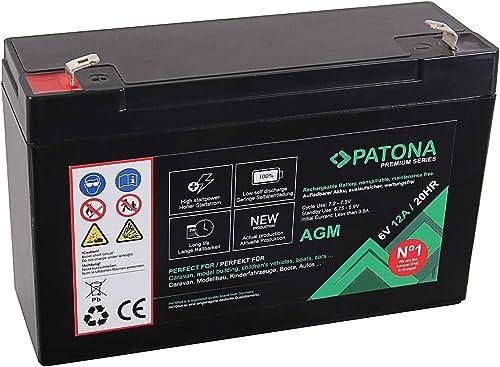 PATONA Premium AGM 6V 12Ah Batterie au Plomb VRLA - 1800 Cycles sans Entretien…