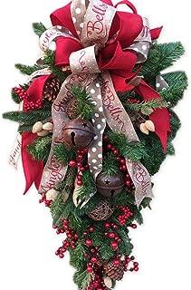 Coxeer Christmas Artificial Flowers, Christmas Swag Creative Fruit Bell Ribbon Teardrop Wall Decoration Door Ornament