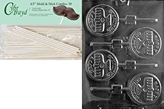 Cybrtrayd Happy Chanukah Candle Lolly Chocolate Candy Mold with 50 4.5-Inch Lollipop Sticks and Exclusive Cybrtrayd Copyrighted Chocolate Molding Instructions
