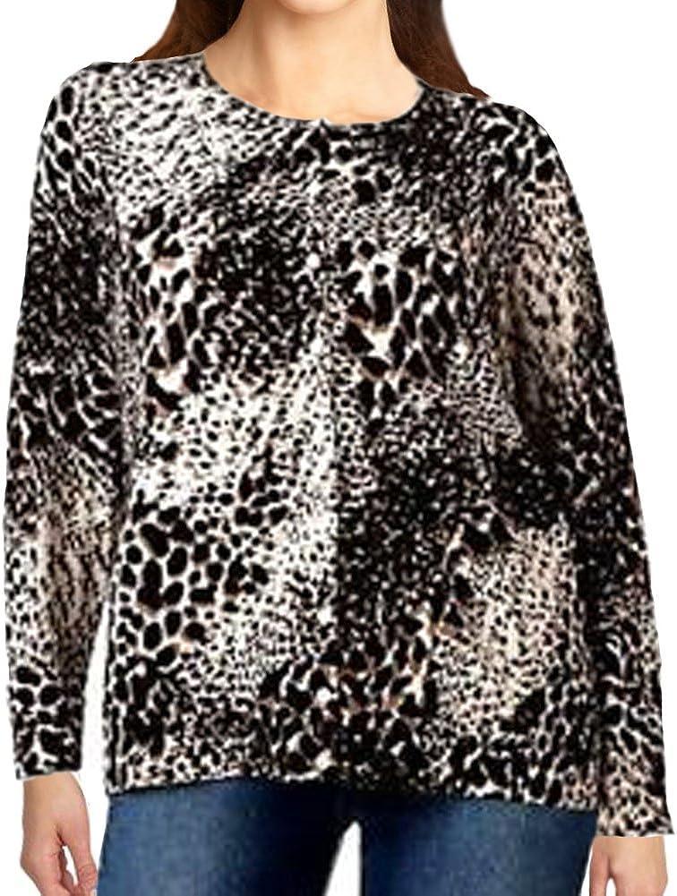 Croft & Barrow Animal Print Long Sleeved Sweater for Women - Plus Sizes