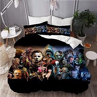 BOKEKANG Duvet Cover Set Classic Horror Movies Lightweight Apartment Decorative Theme 3 Piece Bedding Set with 2 Pillow Shams Full/Queen